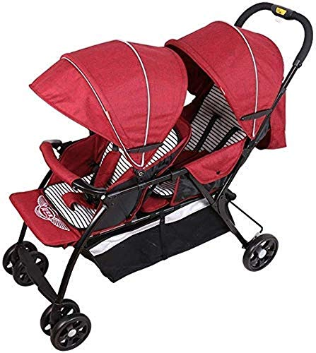 Pushchairs Tandem Foldable Stroller Easy Folding Baby Stroller Double Toddler Baby Pram with Adjustable Backrest Portable Anti-Shock Carriage Baby Products (Color : Red)