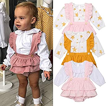 ONES Baby Girl Long Sleeve Peter Pan Collar Tshirt with Frilled Suspender Tutu Romper Short Outfits