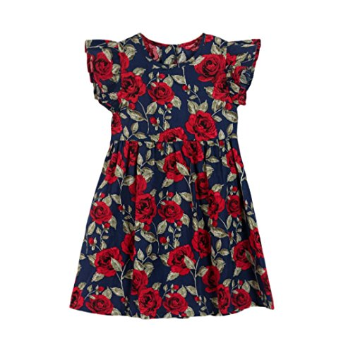 Goodlock Toddler Kids Infant Dress Baby Girls Floral Sleeveless Party Clothes Princess Dress (Dark Blue, Size:3T) -