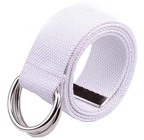 EachWell Solid Color Webbed Canvas Belt Double D-Ring Buckle 1.8