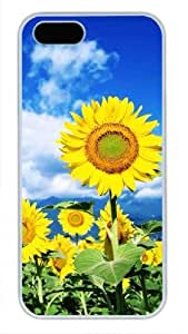 Protective PC Case Skin for iphone 5 White PC Case Back Cover Shell for iphone 5S with Under the Blue Sky Sunflowe