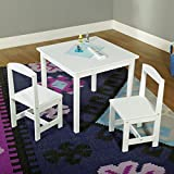 Kids Activity Table and Chairs Set 3-piece Wooden Toddler Room Kit Furniture (White)
