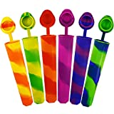 Popsicle Molds KIDAC DIY Silicone Ice Pop Maker Sleeves with Anti-lost Attached Lids for Kids BPA Free - Dishwasher Safe (Extra Thick 1 Set of 6 Colors)