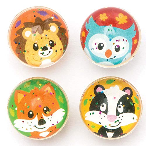 Baker Ross Woodland Friends Glitter Jet Balls (Pack of 8) for Kids Kits Party Bag ()