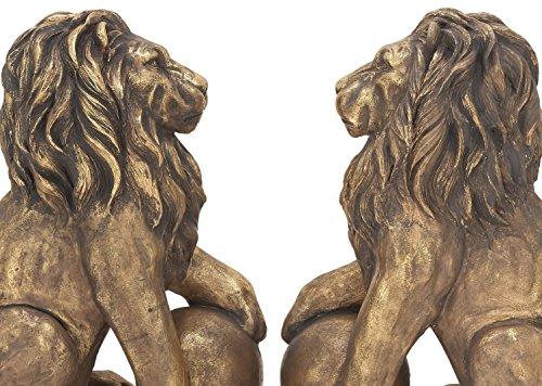Benzara 77157 Polystone Lions Pair 24''W, 32''H, Gold Animal Statue by Benzara (Image #4)