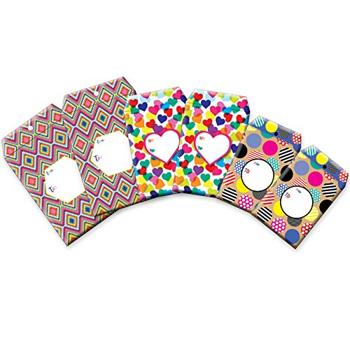 Jillson Roberts 6-Count Tyvek Padded Mailer Shipping Envelopes Available in 8 Different Assortments, Assorted Sizes and Designs, Polka Dots and Hearts