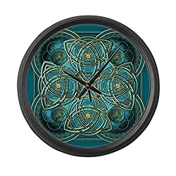 CafePress - Teal Celtic Tapestry - Large 17 Round Wall Clock, Unique Decorative Clock