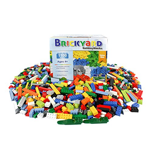 Building Bricks - 1,100 Pieces Compatible Toys by Brickyard Building Blocks - Bulk Block Set with 154 Roof Pieces, 2 Free Brick Separators, and Reusable Storage Box with Handle (1,100 pcs) (Plan City Playmat)