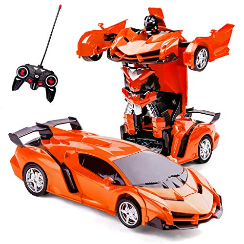Subao Car Toys for Kids 4-8 Year Old,Remote Control Deformation Robot Car Toy for Children Great Birthday Xmas Gifts for Boy Girl Age 7-13 Transform Car Robot Vehicle Toy RC Racing Car for Kids Orange