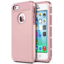 IPhone 5S case, Asstar [Stand Feature] ShockProof fashion and Slim Dual Layer Protective Cover for iPhone 5/5S (Rose Gold+Rose Gold)