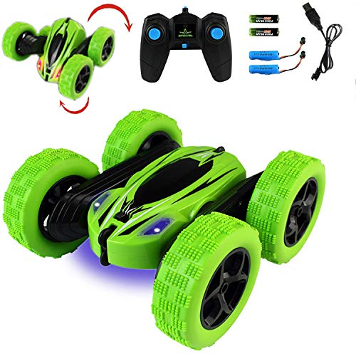 Jellydog Toy Stunt Rc Car, Remote Control Car, 360 Degree Flips Double Sided Rotating Race Car, High Speed Flashing Remote Controlled Car for Kids,Green