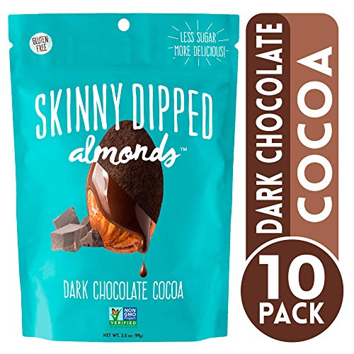 - Skinny Dipped Dark Chocolate Cocoa Covered Almonds, Gluten Free, Low Sugar Snacks, 3.5 Oz Bag, Pack of 10