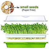 Seed Sprouter Tray Soil-Free BPA Free PP Healthy Alfalfa Wheatgrass Grower 13x10.24x3.35 inches with Cover and 2 Size Hole