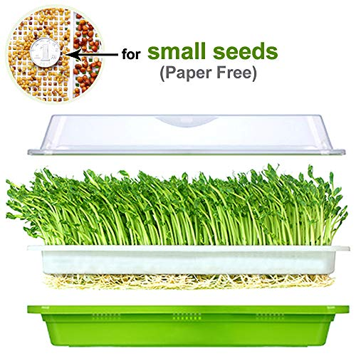 Seed Sprouter Tray BPA Free PP Healthy Alfalfa Wheatgrass seeds Grower With Cover,2 Size Small Holes Grid -
