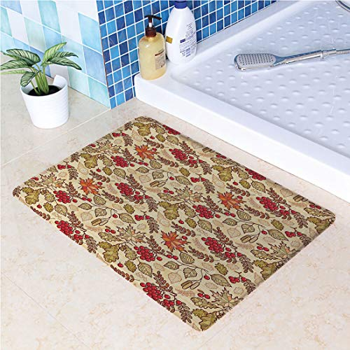(Kitchen Rugs Non Slip Washable Water-Absorbent Anti-Slip Floor Mats Fall Season Themed Mixed Pattern with Maple Birch Oak Autumn Leaves and Ashberries Decorative for Kitchen Bedroom,Anti-Fatigue Rugs)