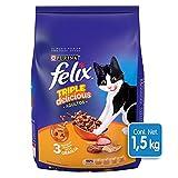 Felix Croquetas para Gato, Triple Delicious, Granja, 1.5Kg