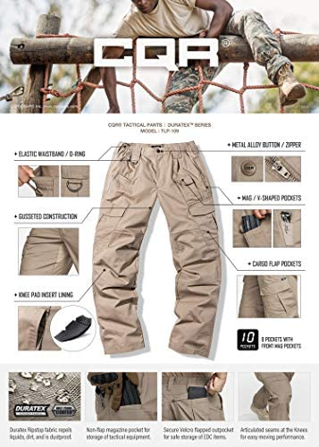CQR Men's Tactical Pants, Water Repellent Ripstop Cargo Pants, Lightweight EDC Hiking Work Pants, Outdoor Apparel