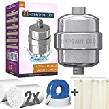 Eco Shower Filter with 2 Replacement Cartridges + Shower Curtain -for Adult Baby Pet - Remove 99% Chlorine (Chrome)