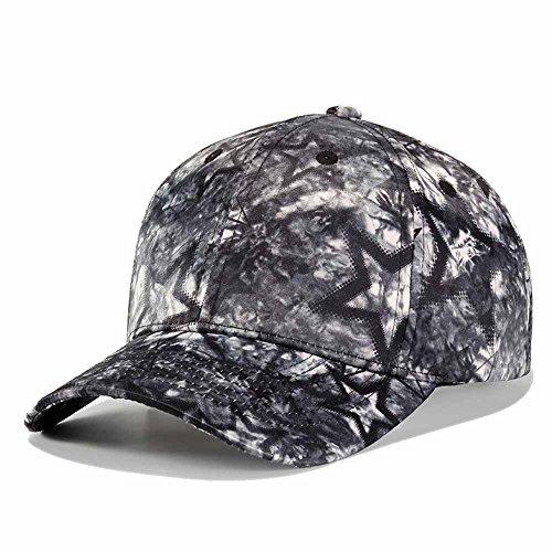(Quanhaigou Printed Baseball Cap,Colorful Graffiti Unisex Snapback Flat Bill Dancing Hip Hop Hats (Black Stars))