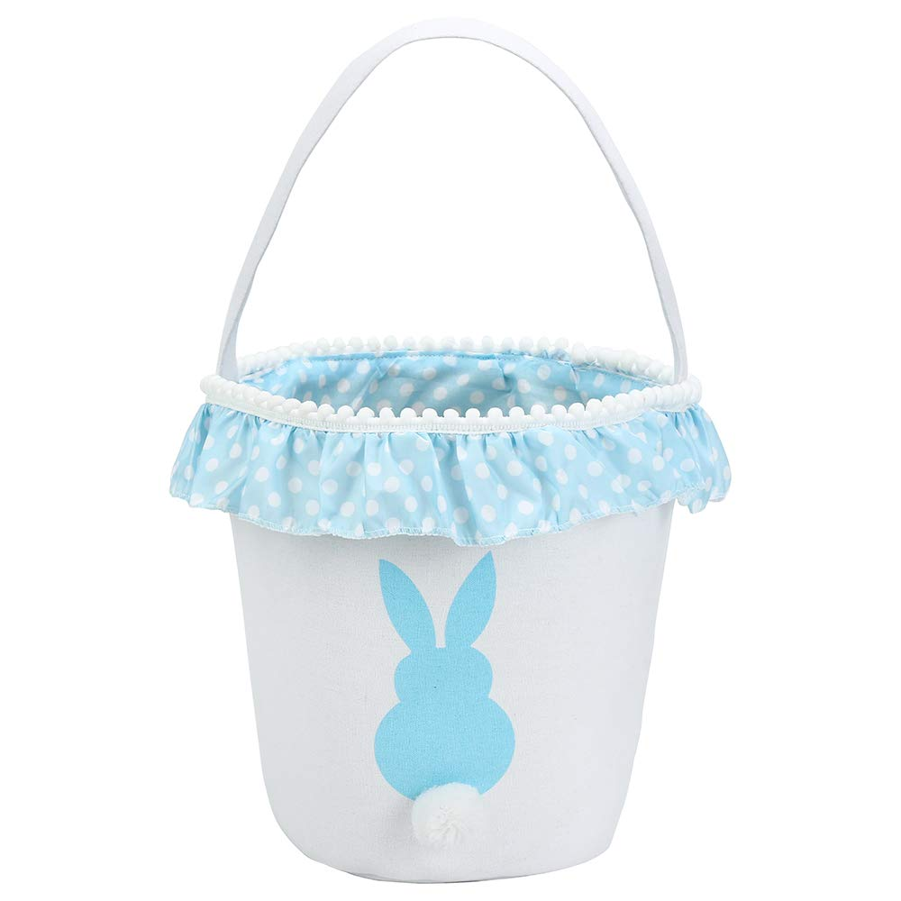 Easter Bunny Basket/Egg Bags for Kids,Canvas/Cotton/Personalized Candy Egg Basket Rabbit/ Print Buckets with Fluffy Tail Gifts Bags for Easter