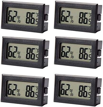 PQZATX 6-Pack Hygrometer Thermometer Lcd Display Digitale Temperatur Luftfeuchtigkeit Meter Gauge für Inkubatoren Reptil und Humidore Fahrenheit (℉)