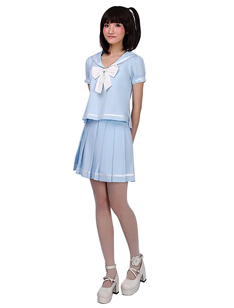 Light Sky bluee Hugme Sailor Light Sky bluee Ribbon Pure Cotton Cute Jumper Skirt