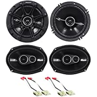 Package: Pair of Kicker 41DSC6934 6x9 D-Series 3-Way Car Speakers Totaling 720 Watt Peak/180 Watt RMS + Pair of Kicker 41DSC654 6.5 D-Series 2-Way Car Speakers Totaling 480 Watt Peak/120 Watt RMS