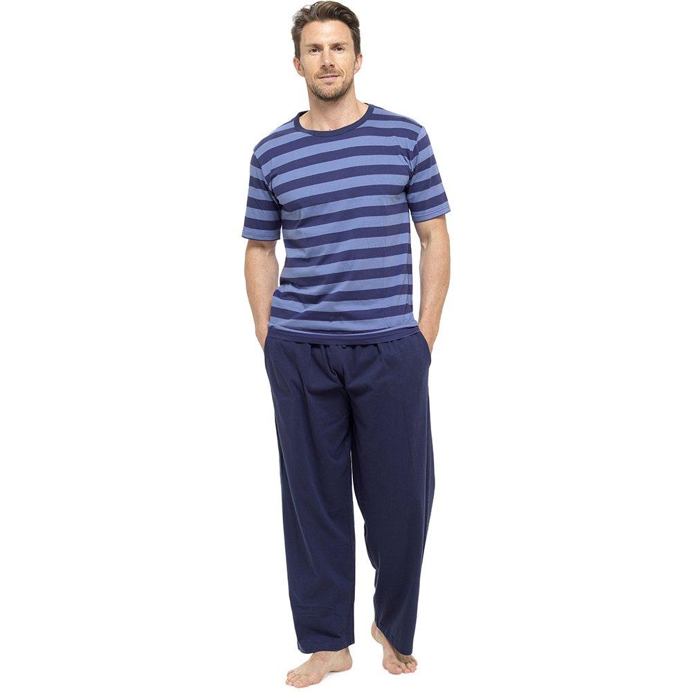 Pigiama completo, Da uomo, Con maglietta a maniche corte e pantaloni lunghi, Per l'estate, HT332C Per l' estate