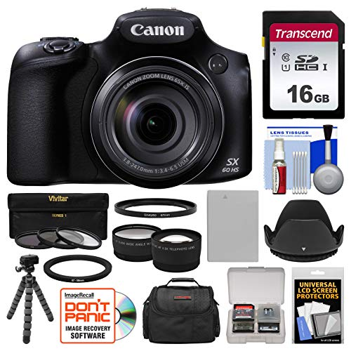 (Canon PowerShot SX60 HS Wi-Fi Digital Camera with 16GB Card + Case + Battery + Flex Tripod + Filters + Tele/Wide Lens Kit)