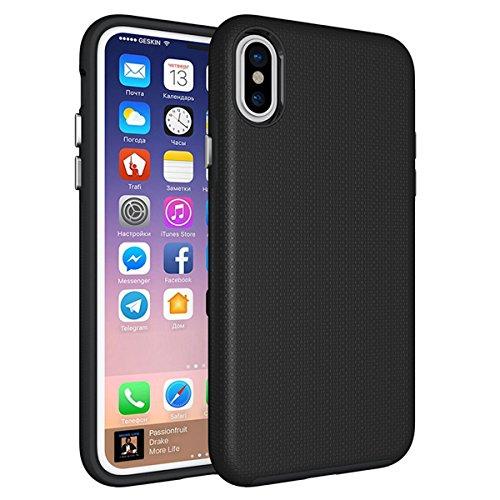 CarcasaiPhone X, LifeePro Funda de la Caja del Teléfono a Prueba de Golpes TPU + PC Armadura Combinada híbrida Caso de Alto Impacto Durable Phone Defender (Rosy, Rosa Fuerte) Negro