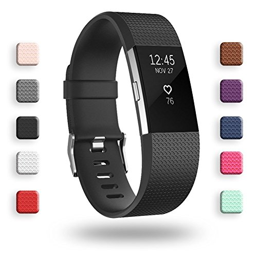 POY Replacement Bands Compatible for Fitbit Charge 2, Classic & Special Edition Sport Wristbands, Large Black, 1PC