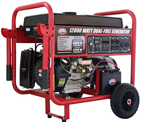 All Power America APGG12000GL 12000 Watt Dual Fuel Portable Generator with Electric Start 12000W Gas/Propane, Black/Red