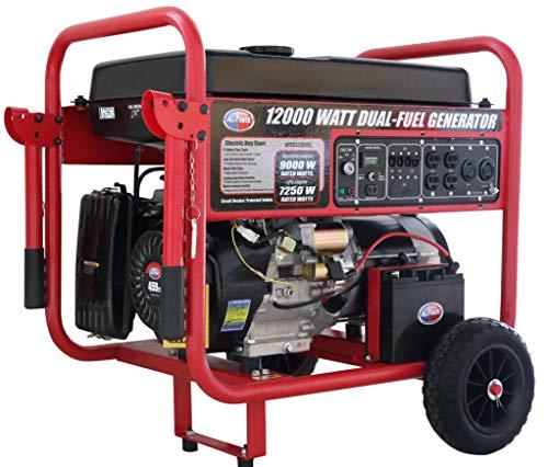 All Power America APGG12000GL 12000 Watt Dual Fuel Portable Generator with Electric Start 12000W Gas/Propane, Black/Red