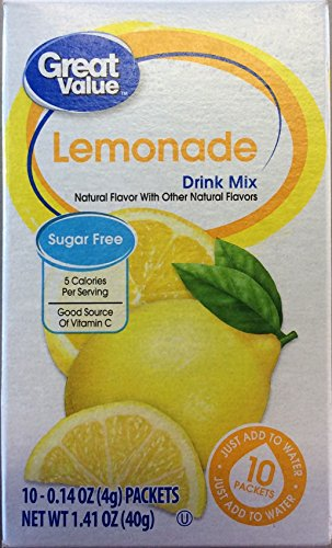 Free Sugar Free Sugar Cholesterol - Great Value: Lemonade Drink Mix, 1.41 Oz (Pack of 2)