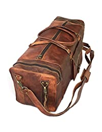 """KK's 28"""" Inch Real Goat Leather Large Handmade Travel Luggage Bags in Square Big bag Carry On"""
