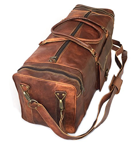 28'' Inch Real Goat Vintage Leather Large Handmade Travel Luggage Bags in Square Big Large Brown bag Carry On By KK's leather by cuero