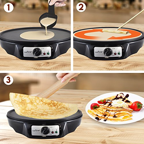 Electric Griddle Crepe Maker Cooktop - Nonstick 12 Inch Aluminum Hot Plate with LED Indicator Lights & Adjustable Temperature Control - Wooden Spatula & Batter Spreader Included - NutriChef PCRM12 by NutriChef (Image #3)