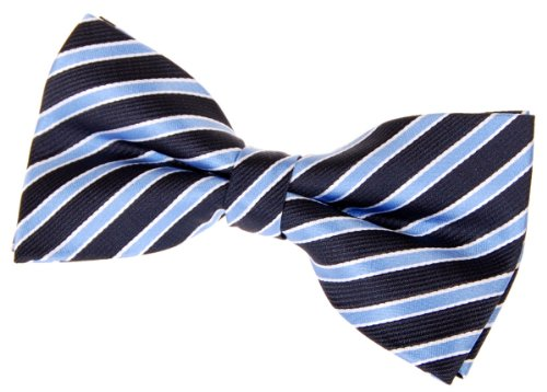 Retreez Two-Colour Stripe Woven Pre-tied Bow Tie (5