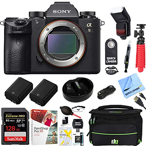 Sony Alpha a9 Mirrorless Interchangeable Lens Digital Camera Body Bundle with 128GB Memory Card, Flash, Paintshop Pro 2018, Battery, Camera Bag, Battery Charger and Accessories (8 Items)