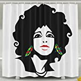 Cool African Woman Shower Curtain Fabric Bathroom Shower Curtain Set,72x60 Inch