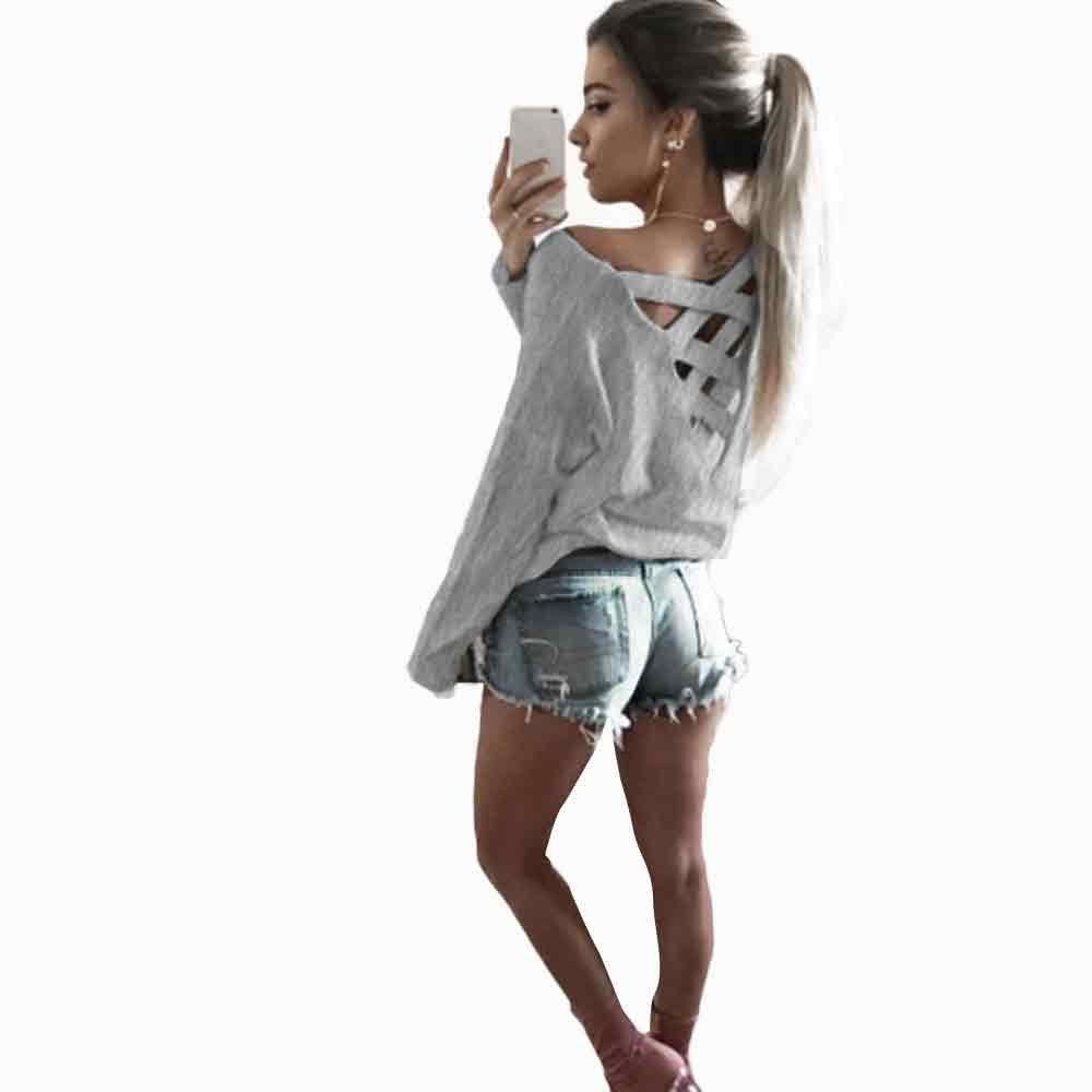 ... Nuevo Blusas para Mujer Vaquera Sexy Mezcla de Algodón Tops Camisetas Mujer Manga Camisa de Manga Larga Camisa Mujer: Amazon.es: Ropa y accesorios