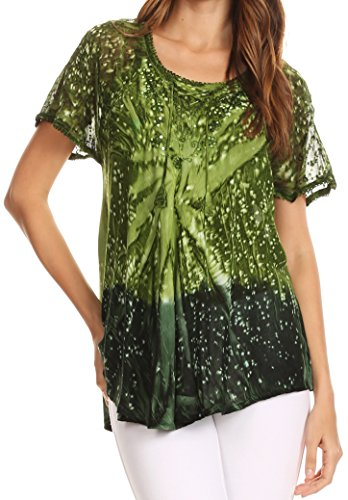 - Sakkas 17781 - Mira Tie Dye Two Tone Sheer Cap Sleeve Relaxed Fit Embellished Tunic Top - 4-Green - OSP