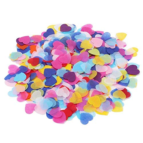 Stianley 16 Ounce Large Bag Biodegradable Paper Confetti , 50000 Pieces 2.5cm/1 inch Colorful Heart Confetti Wedding Sprinkles for Balloon, Wedding, Valentine's Day, Holiday, Birthday Party Table Decoration Pinata Fillers