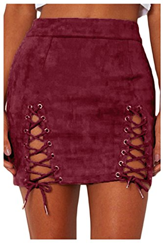 (Meyeeka Womens Criss Cross Lace Up Faux Suede Bodycon Stretch Mini Skirt Wine)