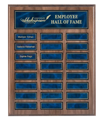 24 Plate Perpetual Plaque 12''x15'' CUSTOM ENGRAVED Walnut Finish with Blue Plates by JC Sports Plaques and Awards