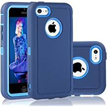 iPhone 5C Case, FOGEEK Dual layer Anti Slip 360 Full Body Cover Case PC and TPU Shockproof Protective for Apple iPhone 5C ONLY(Dark Blue)