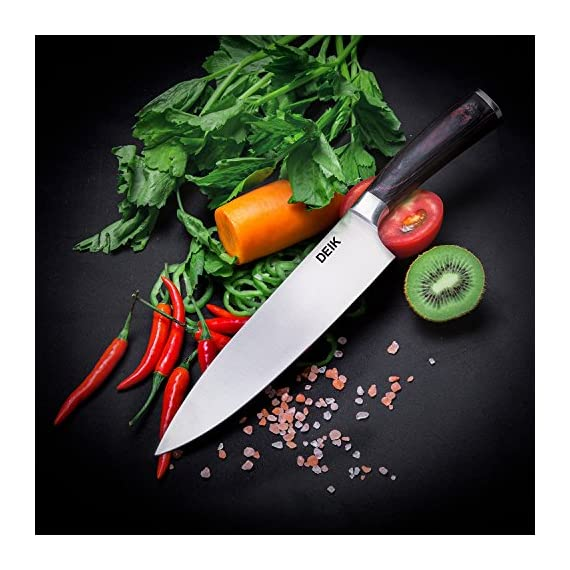 Deik Chef Knife, High Carbon Stainless Steel Kitchen Knife, Super Sharp Chef's Knife with Wood Handle, 8 Inch Cooking Knife for Professional Use 4 Stainless steel blade with high carbon: The DEIK professional 8 inch chef knife is manufactured from high-quality stainless steel that maintains its functionality for a long time. And to boost its sturdiness, the steel contains 0.6%-0.75% carbon, making it two times as hard as other knives in its class as they contain just 0.3% carbon. Multi-functional knife: The sharp kitchen knife is designed to be multipurpose knife for professional applications, suitable for for cutting, dicing, slicing, chopping and also removing flesh off bones. It comes with a HRC( Rockwell Hardness Scale) of 58-60 which makes it among the tough knives in its class. Ergonomic pakka handle: The weight and the size of this chef knife feels quite balanced and you won't feel finger numbness because of it's ergonomic handle. Pakka original wood handle makes this kitchen knife more luxury.