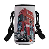 Small Water Bottle Sleeve Neoprene Bottle Cover,Cars,Big Fire Truck with Emergency Equipments Universal Safety Rescue Team Engine Cartoon,Red Silver,Great for Stainless Steel and Plastic/Glass Bottles