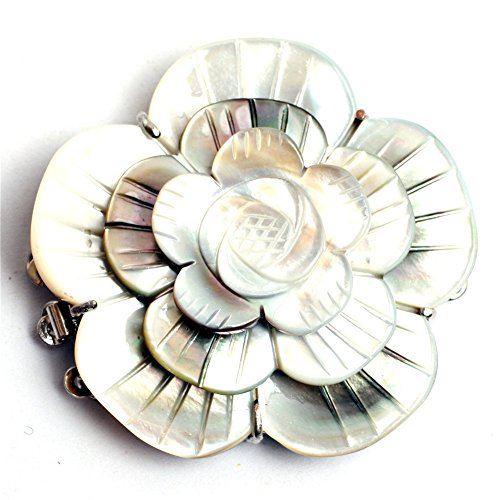 Shell Flower Clasp (GEM-inside 1Piece 24X33mm Natural Carved Mother Of Pearl Flower Shell 3-Strands Clasp Necklace Bracelet Jewelry)