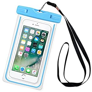 MiniKIKI Universal Waterproof Bag for Phone, Waterproof Phone Case, Waterproof Pouch for Phone,Universal Dry Bag, Transparent Seal, 6 inch, for Swimming, Drifting, Skiing & More Water Activities-Blue